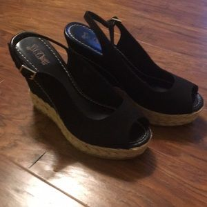 Faux suede black 4 inch wedges worn once. Sz 7.5